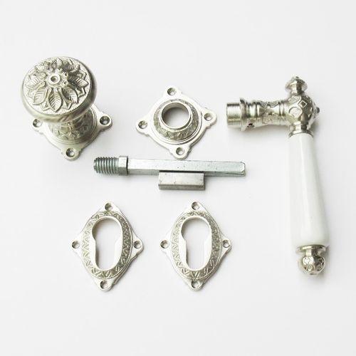 Antik Türklinke Nickel matt gebürstet Jugendstil 46-BB-NMW