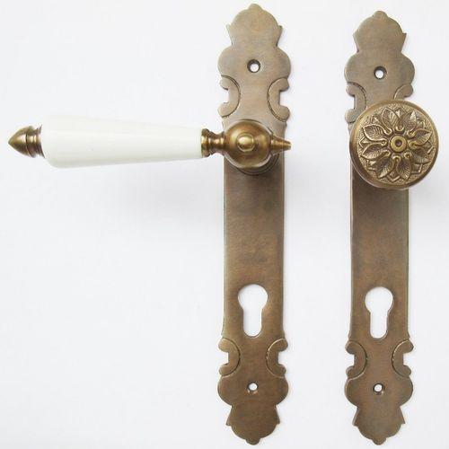 #3-PZ-AW Türgriffe  für Profilzylinderschloss Jugendstil Messing antik